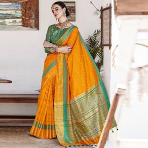 Exceptional Mustard Yellow Colored Wedding Wear Woven Cotton Silk Saree