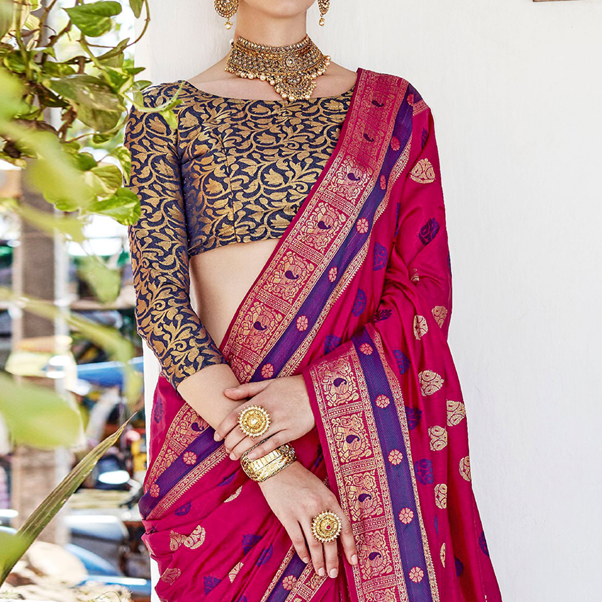 Excellent Deep Pink Colored Wedding Wear Woven Cotton Silk Saree