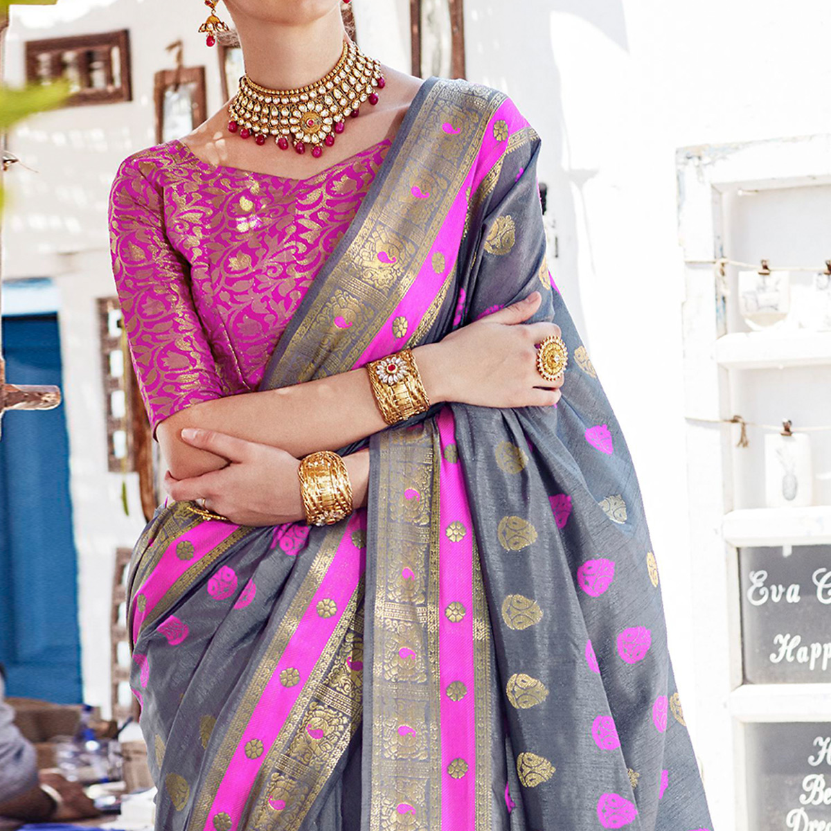 Ethnic Grey Colored Wedding Wear Woven Cotton Silk Saree