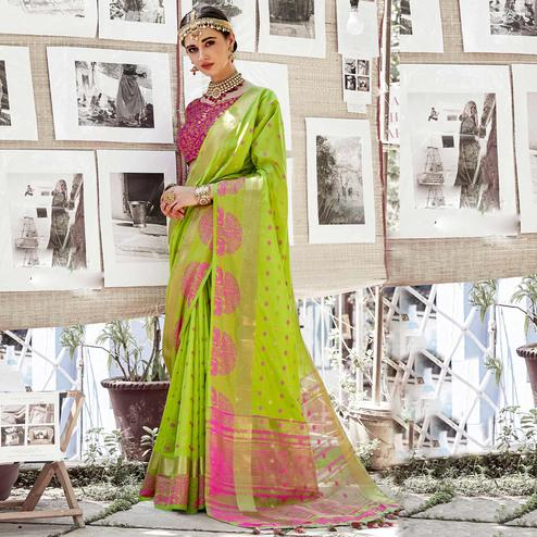 Starring Light Green Colored Wedding Wear Woven Cotton Silk Saree