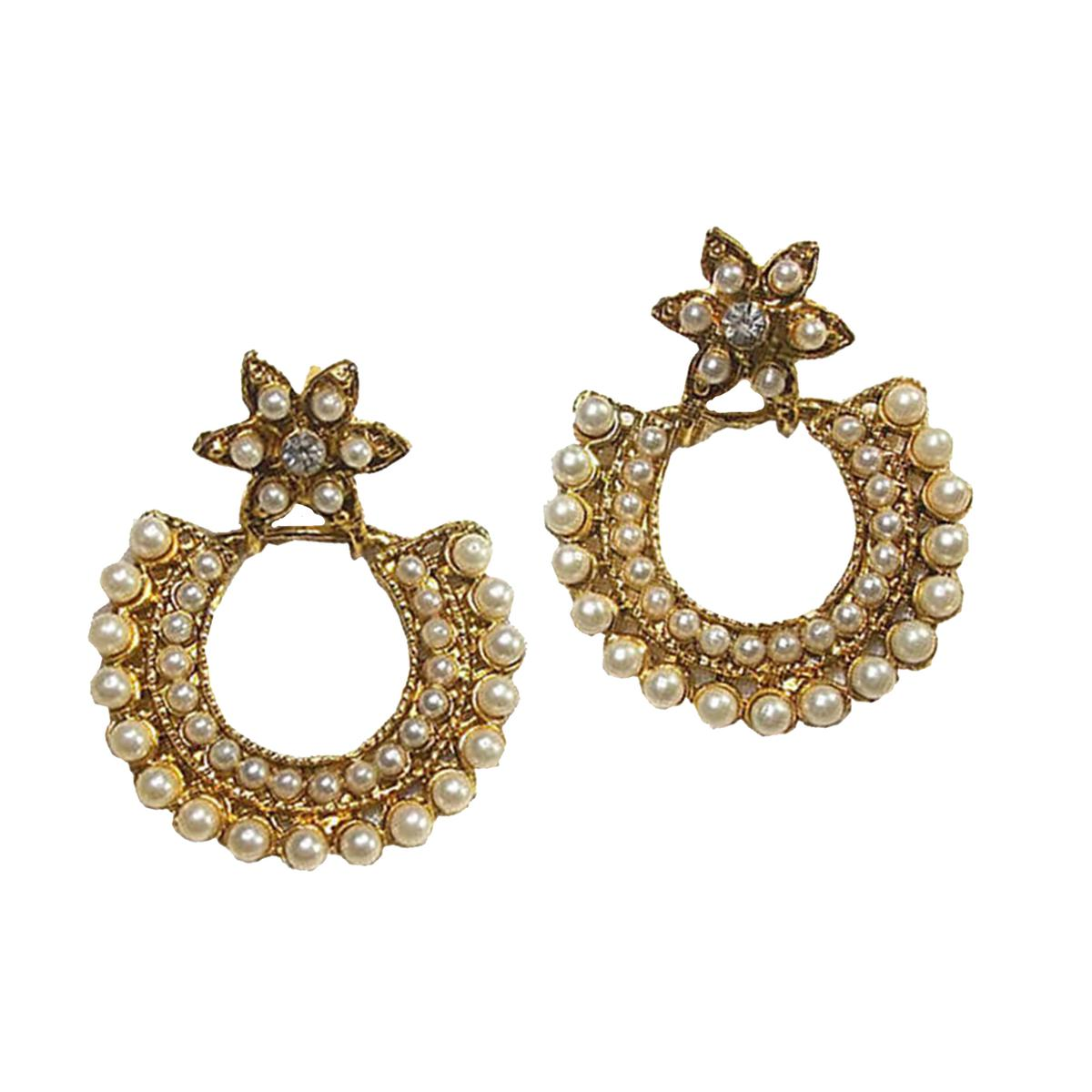 Golden Pearl Polki Drop Earring