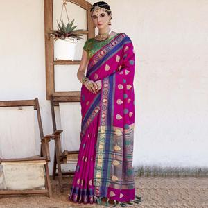Imposing Magenta Pink Colored Wedding Wear Woven Cotton Silk Saree