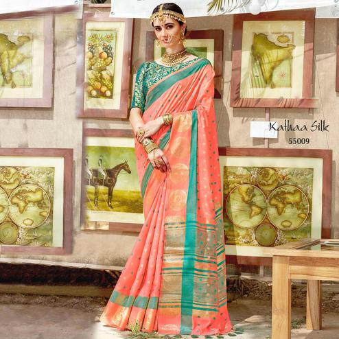 Stunning Peach Colored Wedding Wear Woven Cotton Silk Saree