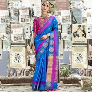 Blooming Blue Colored Wedding Wear Woven Cotton Silk Saree