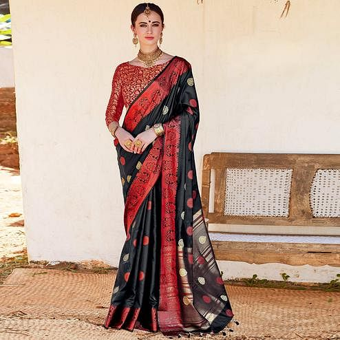 Mesmerising Black Colored Wedding Wear Woven Cotton Silk Saree