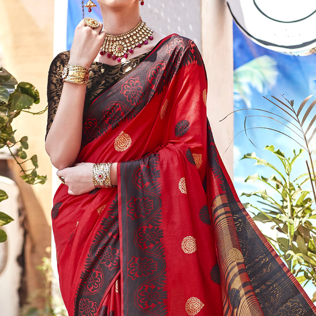 Ravishing Red Colored Wedding Wear Woven Cotton Silk Saree