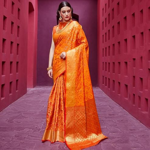Awesome Orange Colored Festive Wear Woven Silk Saree