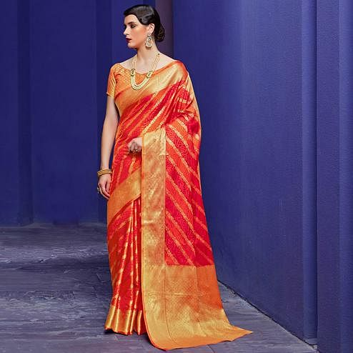 Glowing Pink-Orange Colored Festive Wear Woven Silk Saree