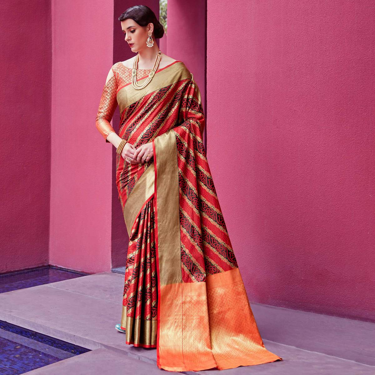 Groovy Red-Black Colored Festive Wear Woven Silk Saree