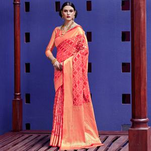 Elegant Pink Colored Festive Wear Woven Silk Saree