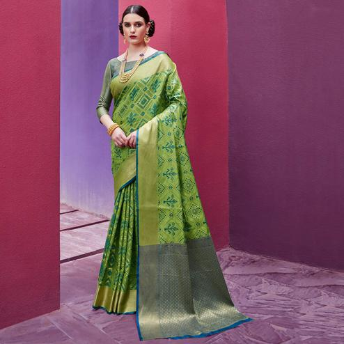 Alluring Pista Green Colored Festive Wear Woven Silk Saree