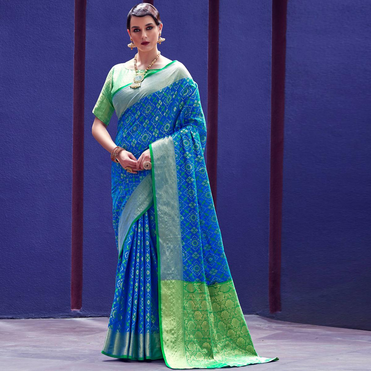 Prominent Blue Colored Festive Wear Woven Silk Saree