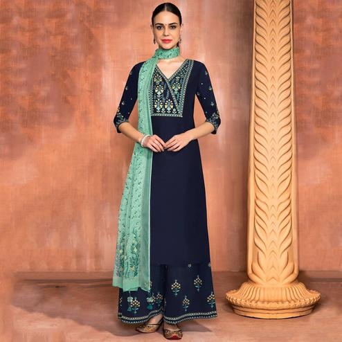 Ethnic Navy Blue Colored Party Wear Embroidered Muslin Silk Suit