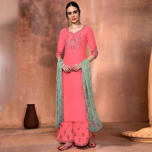 Starring Pink Colored Party Wear Embroidered Muslin Silk Suit