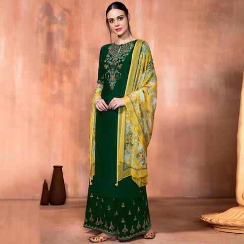 Surpassing Green Colored Party Wear Embroidered Muslin Silk Suit