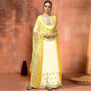 Blissful Off White Colored Party Wear Embroidered Muslin Silk Suit