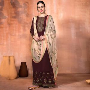 Ideal Brown Colored Party Wear Embroidered Muslin Silk Suit