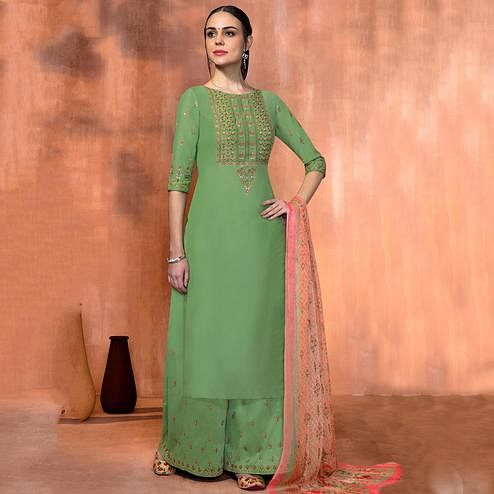 Engrossing Dark Sea Green Colored Party Wear Embroidered Muslin Silk Suit