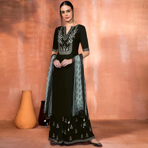 Fantastic Black Colored Party Wear Embroidered Muslin Silk Suit