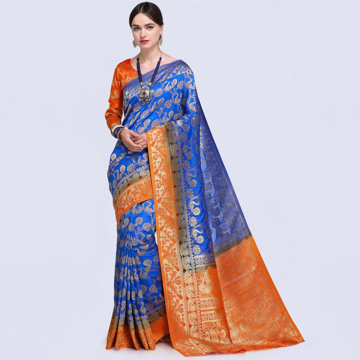 Impressive Blue Colored Festive Wear Woven Silk Saree
