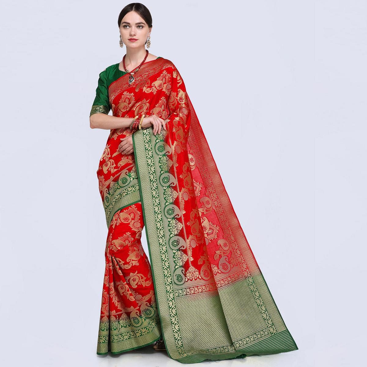 Attractive Red Colored Festive Wear Woven Silk Saree