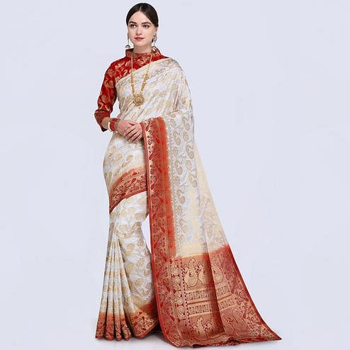 Appealing White Colored Festive Wear Woven Silk Saree