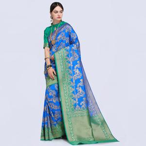Desiring Blue Colored Festive Wear Woven Silk Saree