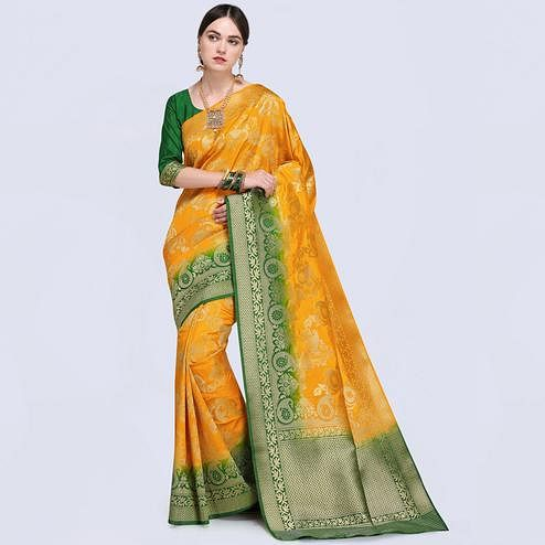 Eye-Catching Yellow Colored Festive Wear Woven Silk Saree