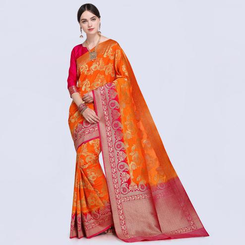 Trendy Orange Colored Festive Wear Woven Silk Saree
