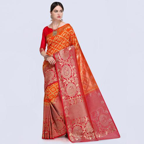 Staring Orange-Red Colored Festive Wear Woven Silk Saree