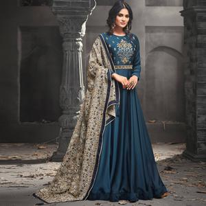Exceptional Blue Colored Partywear Embroidered Modal Satin Abaya Style Anarkali Suit