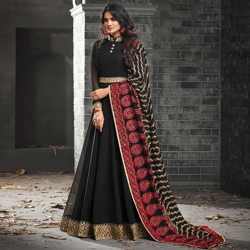 Arresting Black Colored Partywear Embroidered Georgette Abaya Style Anarkali Suit
