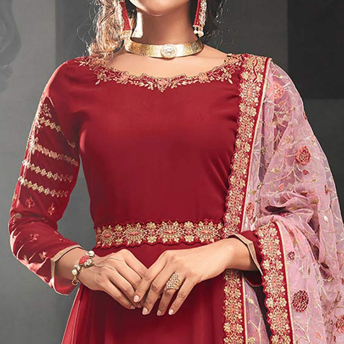 Magnetic Red Colored Partywear Embroidered Georgette Abaya Style Anarkali Suit