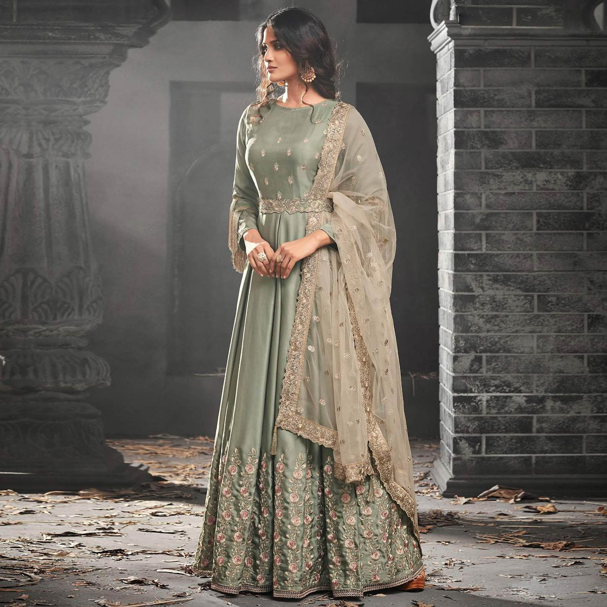 Excellent Slate Green Colored Partywear Embroidered Modal Satin Abaya Style Anarkali Suit