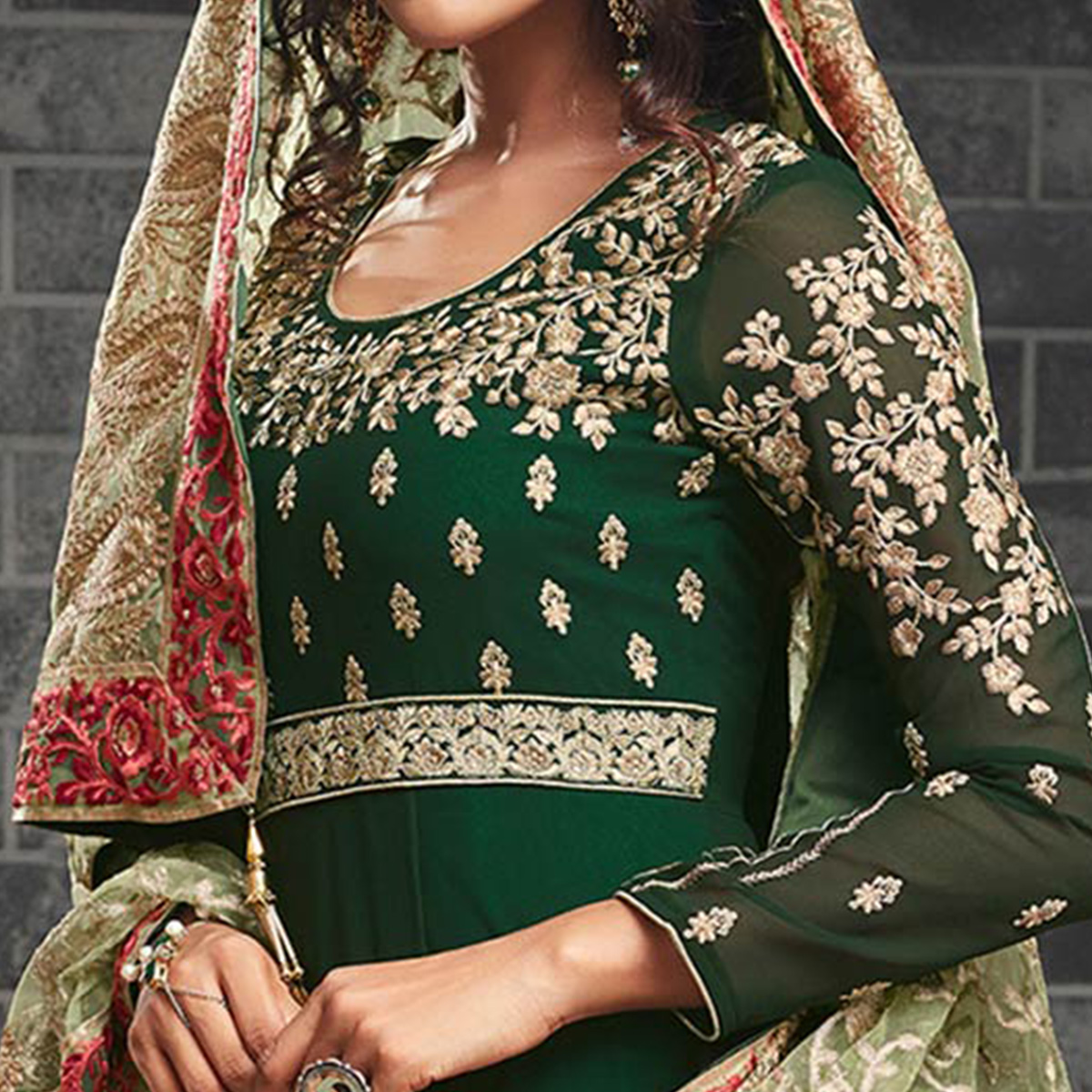 Impressive Dark Green Colored Partywear Embroidered Georgette Abaya Style Anarkali Suit