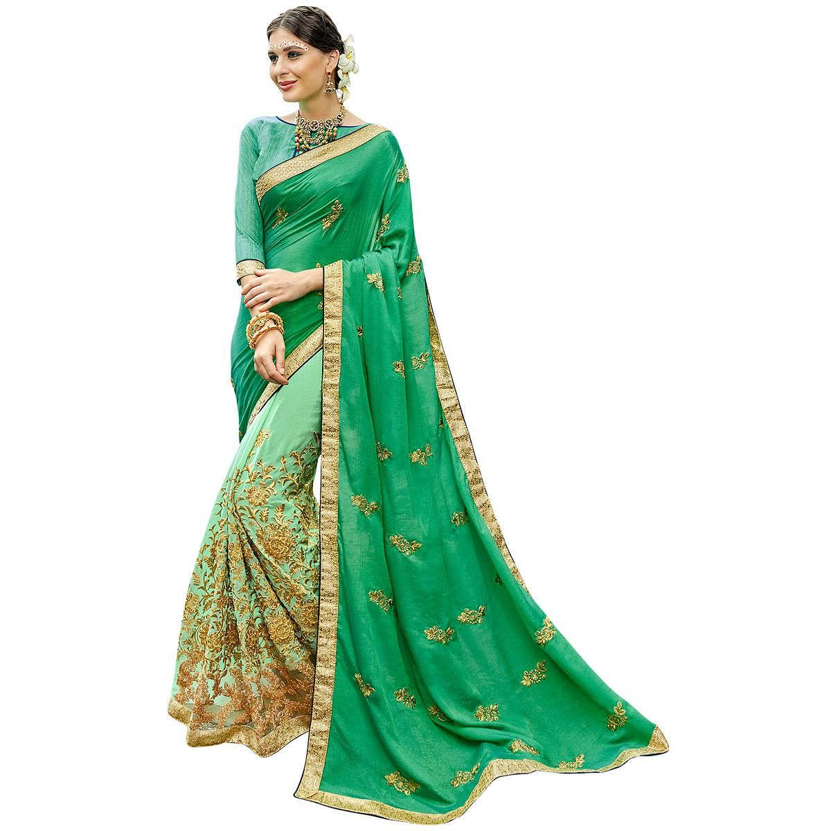 Amazing Green Colored Partywear Embroidered Art Silk-Chiffon Half-Half Saree
