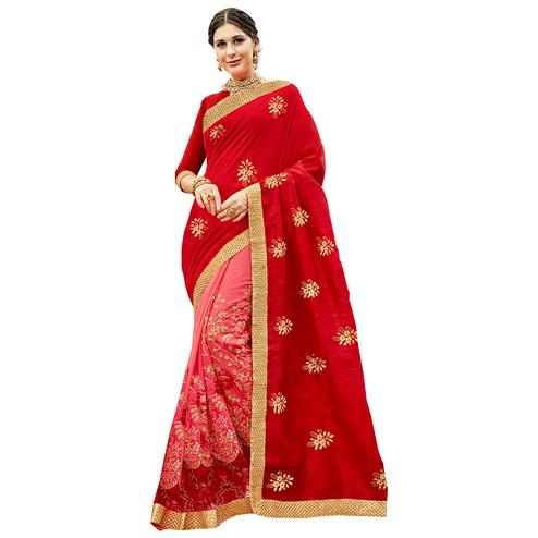 Irresistible Red-Pink Colored Partywear Embroidered Art Silk-Georgette Half-Half Saree
