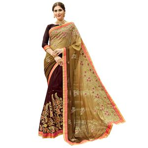 Majestic Brown Colored Partywear Embroidered Georgette Half-Half Saree