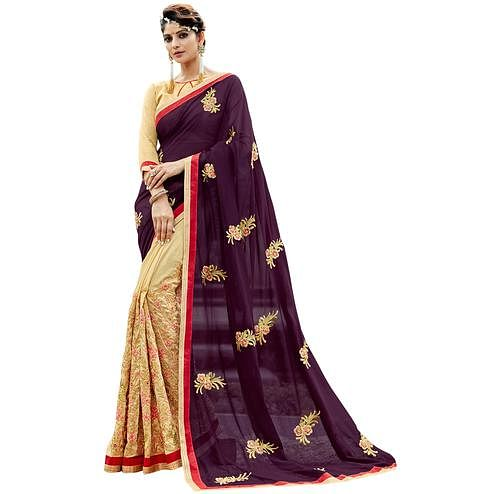 Arresting Dark Purple-Beige Colored Partywear Embroidered Georgette Half-Half Saree
