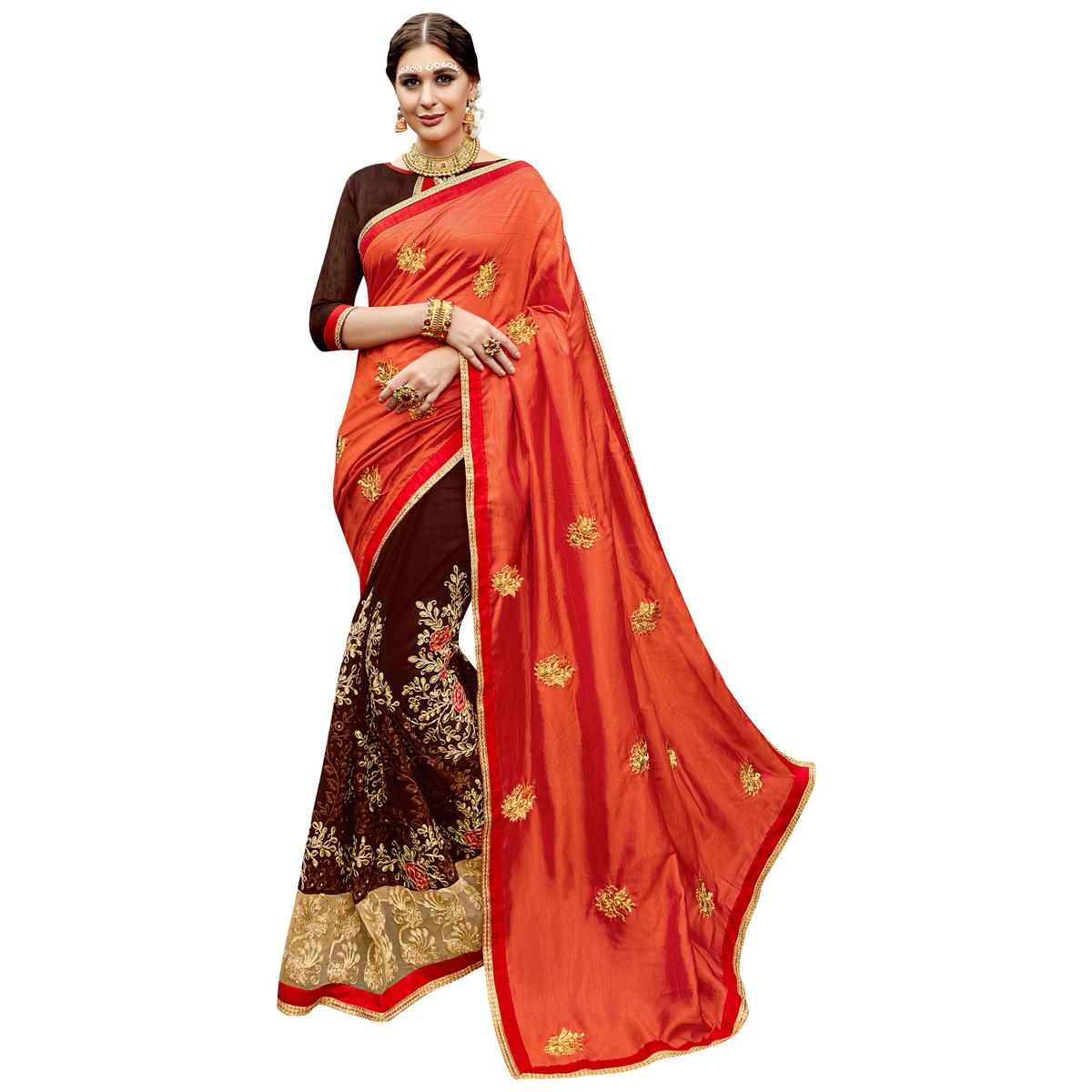 Traditional Orange-Brown Colored Partywear Embroidered Art Silk-Georgette Half-Half Saree