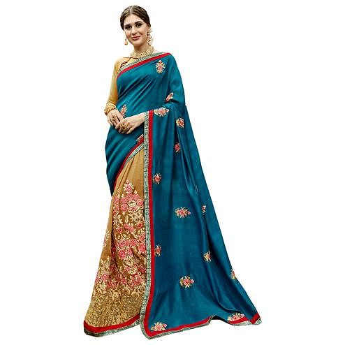 Eye-Catching Blue-Beige Colored Partywear Embroidered Art Silk Half-Half Saree
