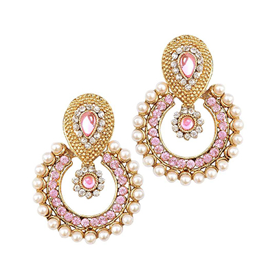 Pink Stone Pearl Polki Earrings