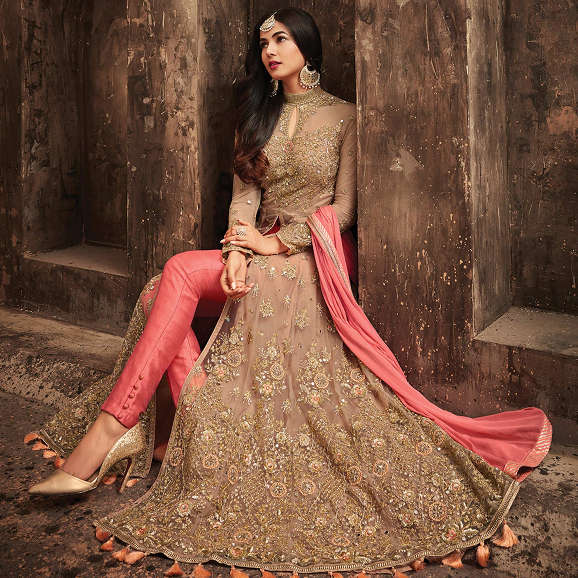 Favorite Light Brown-Pink Colored Partywear Embroidered Netted Lehenga Kameez