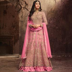 Charming Pink Colored Partywear Embroidered Netted Lehenga Kameez