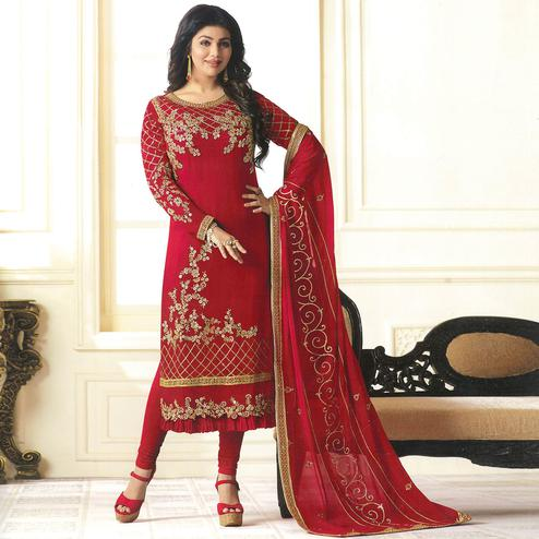 Mesmerising Red Colored Partywear Embroidered Georgette Suit