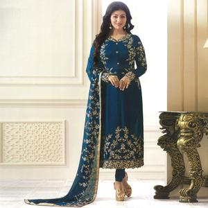 Sophisticated Stone Blue Colored Partywear Embroidered Georgette Suit