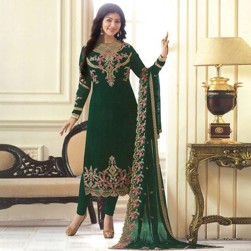 Impressive Green Colored Partywear Embroidered Georgette Suit