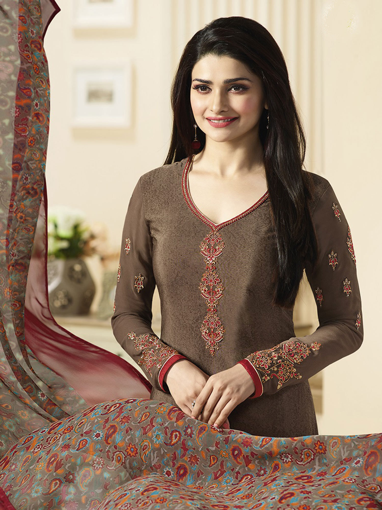 Elegant Brown Designer Embroidered Silk Salwar Suit