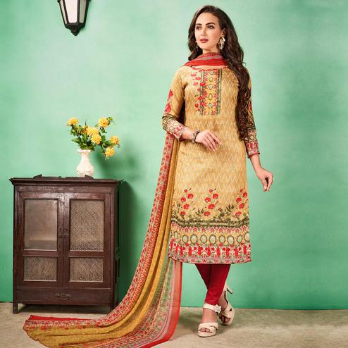 Pleasant Beige Colored Casual Printed Cotton Dress Material