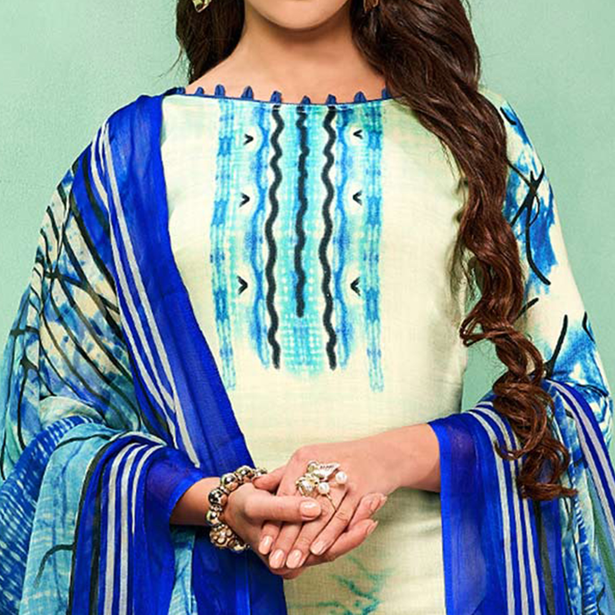 Groovy Cream-Blue Colored Casual Printed Cotton Dress Material